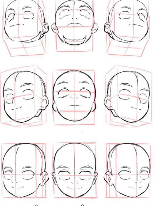 板绘参考⏯️不同角度头部的画法...