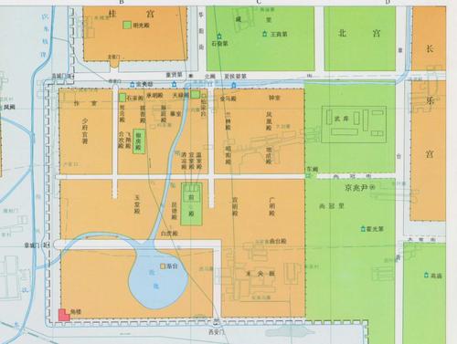 未央宫详细地图 右下角有标注霍...